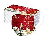 50 Stück Mundschutz Einweg, Weihnachten Bedruckte Muster Mund und Nasenschutz Atmungsaktiv Stoffmaske Ohrschlaufen Bedeckung Erwachsene Halstuch