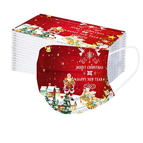 XCVBX 10/50/100 Stück Einweg Erwachsene Gesichtsschutz Weihnachten Mode Gedruckt Atmungsaktiv Unisex