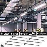8x LED Industrie Wannen Leuchten Lampen 120 cm Werkstatt Garage Keller Lagerhalle Neutralweiß 4000K...