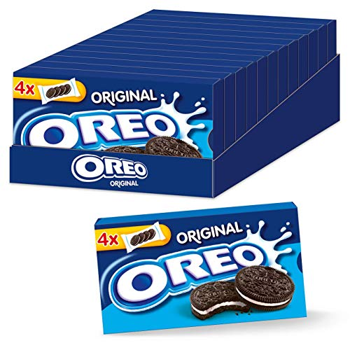 OREO Original 12 x 176g, Knuspriger Kakao Doppelkeks gefüllt mit veganer Crème-Füllung