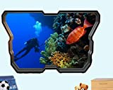Pegatinas de pared Scuba Diver Coral Reef Ocean Wall Sticker Poster 3D Art Sticker Mural