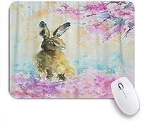 VAMIX マウスパッド 個性的 おしゃれ 柔軟 かわいい ゴム製裏面 ゲーミングマウスパッド PC ノートパソコン オフィス用 デスクマット 滑り止め 耐久性が良い おもしろいパターン (春の牧草地のウサギ水彩画で作成アクリル愛らしい動物アート)