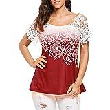MORCHAN Femmes Dentelle Occasionnels Couture Floral Imprimé O-Neck Trim T-Shirt Tops Blouse (XL, Rouge)