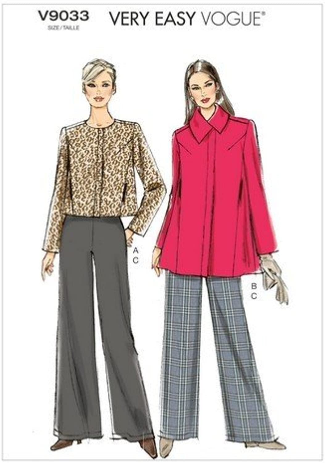 Vogue Patterns V9033 Misses' Jacket and Pants Sewing Template, Size Y (XSmallSmallMedium)