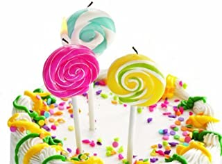 Small Colorful Lollipop Swirl Candles Set Of 3