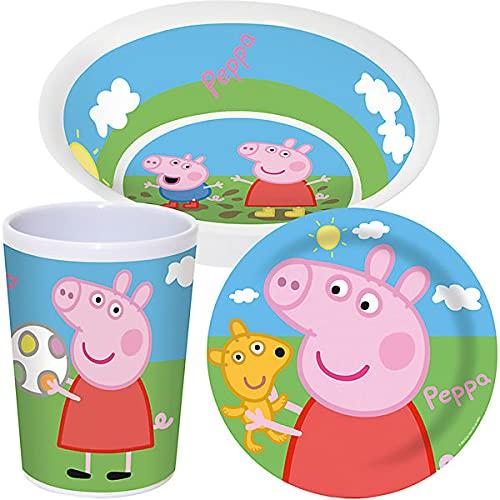 Peppa Pig - Set da colazione per bambini, 3 pezzi, motivo: Frozen Anna Elsa, set di stoviglie da campeggio, in melamina, per bambini dai 6 mesi in su, senza BPA (Peppa Pig
