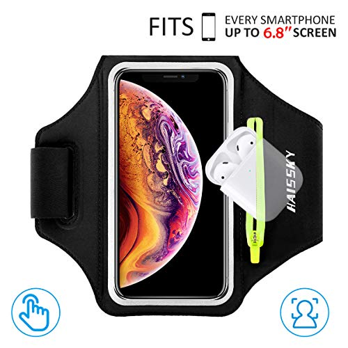 "HAISSKY Armband Case with Airpods Holder/Car Key Bag Cell Phone Holder Gym Case Fits iPhone 11 Pro Max/11 Pro/Xs Max/XR 8 7 6,Galaxy S10+/S10/S10e/S9+ with Key Holder&Card Slot up to 6.8"" (Black)"