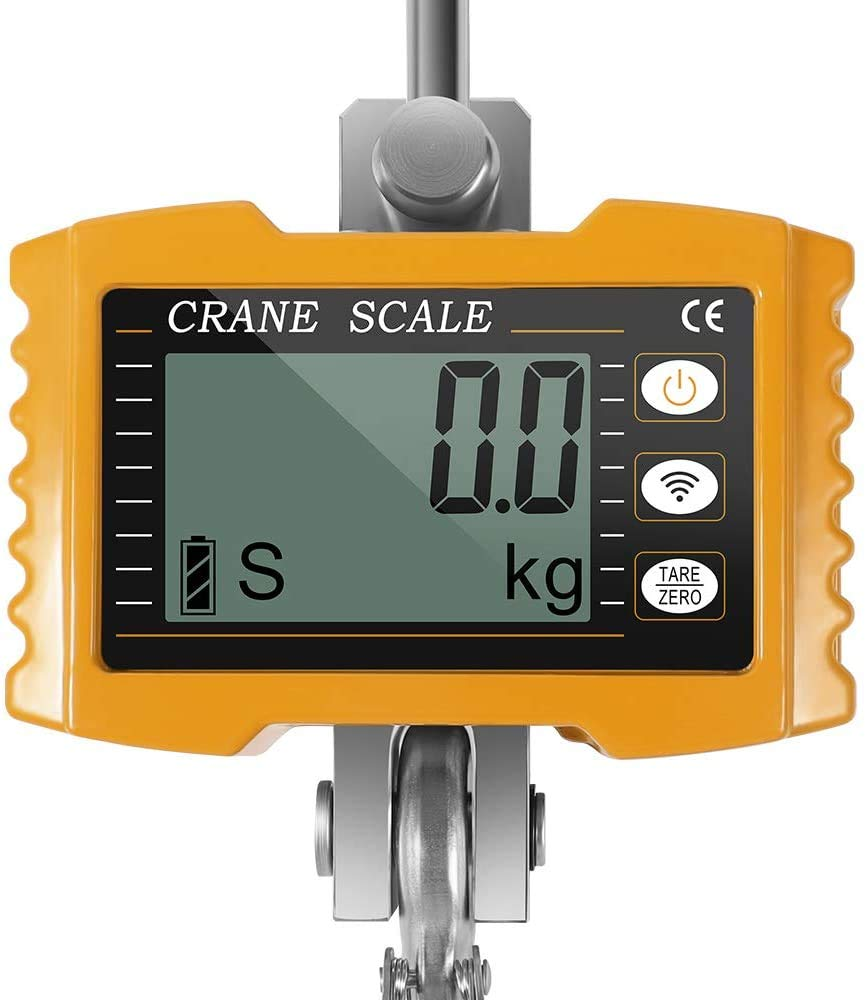 amarillo TTLIFE Escala de gr/úa 1000 kg 2000 libras Balanza colgante industrial digital de alta resistencia B/áscula de gr/úa electr/ónica inteligente de alta precisi/ón