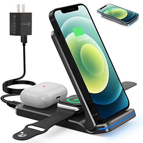 FEIKU Portable Wireless Charger, Foldable 3 in 1 15W Fast Charging Station, Compatible for iPhone 12 Mini/12/12 Pro/12 Pro Max/11/X/XS and iWatch 6 5 4 3 2 1 Airpods 3 2 1(with QC3.0 Adapter) (Black)