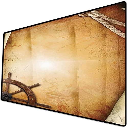 Alfombrilla de ratón (600x300x3 mm) Decoración de Rueda de Barcos, ilustración de Volante en Papel Antiguo histórico Arte marítimo it Superficie Suave y cómoda de la Alfombrilla de ratón para Juegos