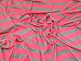 Minerva Crafts Jersey-Stoff, gestreift, Pink/Grau,