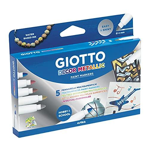 Giotto Decor Metallic Rotuladores Múltiples Superficies, Estuche 5 Uds.