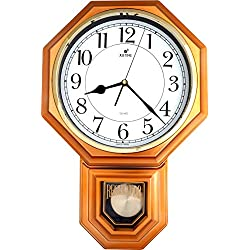 JUSTIME Traditional Schoolhouse Easy to Read Pendulum Plastic Wall Clock Chimes Every Hour with Westminster Melody Made in Taiwan, 4AA Batteries Included (PP0262-WV Vintage Copper)