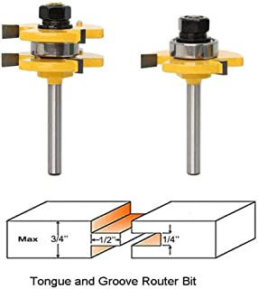 1/4'' Shank Matched Tongue and Groove Router Bit Set Wood Milling Saw Cutter New Woodworking Tools 3 Teeth T Shape Wood Milling Cutter(2 Pack)
