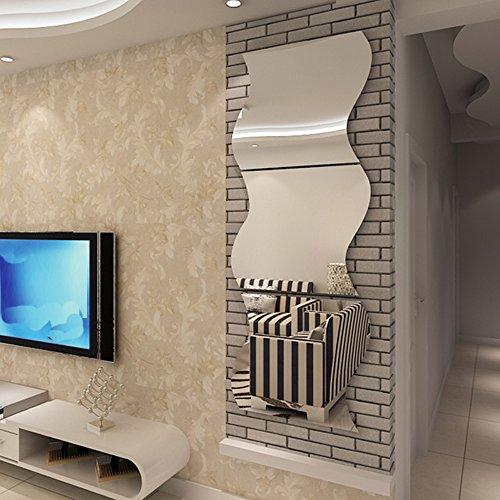 Haus Dekoration Anproberaum Spiegel befestigt Hauptlieferungs-3D dreidimensionaler Spiegel Wandaufkleber DIY Acryl dekorative Sticker gespiegelten (Color : Gold, Size : 20x20cmx3)