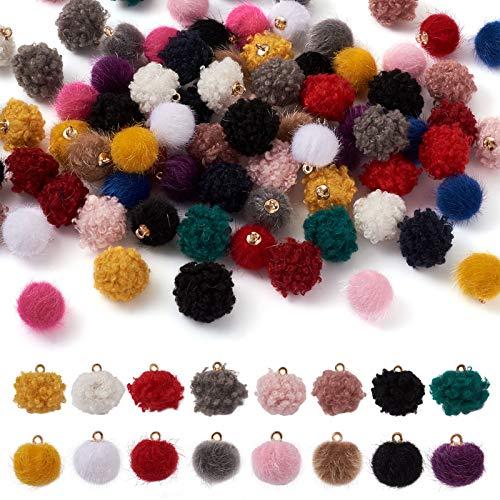 100 abalorios de pompón metálico de piel sintética de 16,5 a 17,5 x 14,5 mm para colgantes de bolas esponjosas para manualidades y manualidades, agujero: 1,5 mm