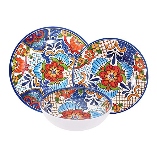First Design Global Azteca Decorative Floral 12 Piece Melamine Dinnerware Set, For Parties or Everyday Use, Service for 4, Spanish Tile