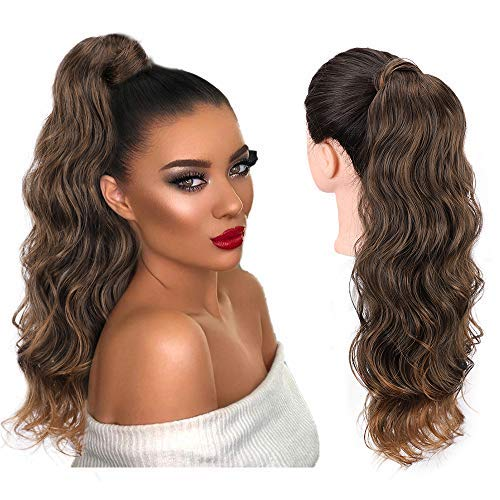AISI BEAUTY 22 inch Wavy Ponytail Extension for Black Women Synthetic Wrap Around Ponytail Long Curly Wavy Clip in Magic Paste Ponytail Hairpiece(T1B/30#)