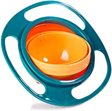 Gyro Bowl, McoMce 360 Degree Rotate No Spill Bowls for Toddlers, Spill Proof Baby Bowls with Lid for Toddlers Baby Kids, Creative Snacks Bowl Practice Feeding Bowl, Universal Rotating Bowl, Green