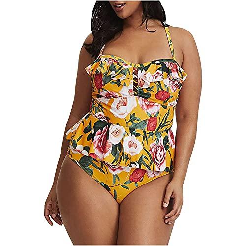 Traje de baño para mujer de estilo vintage floral con diseño floral amarillo 3XL
