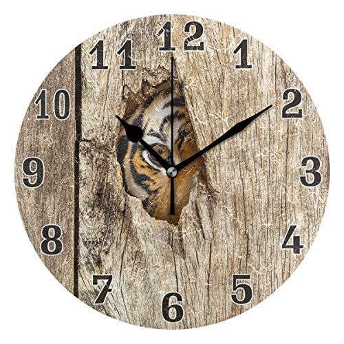 funnyy Siberian Ojo de Tigre de Madera Agujero Redondo acrílico Reloj