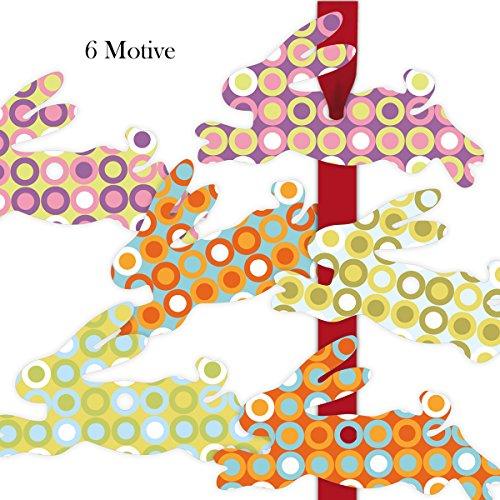 Kartenkaufrausch 6 grappige hazen cadeauhangers gekleurd, decoratieve haas slingers hanger, hangsets 11,5 x 7 cm met jaren 70 puntenpatroon • voor het versieren van geschenkzakjes