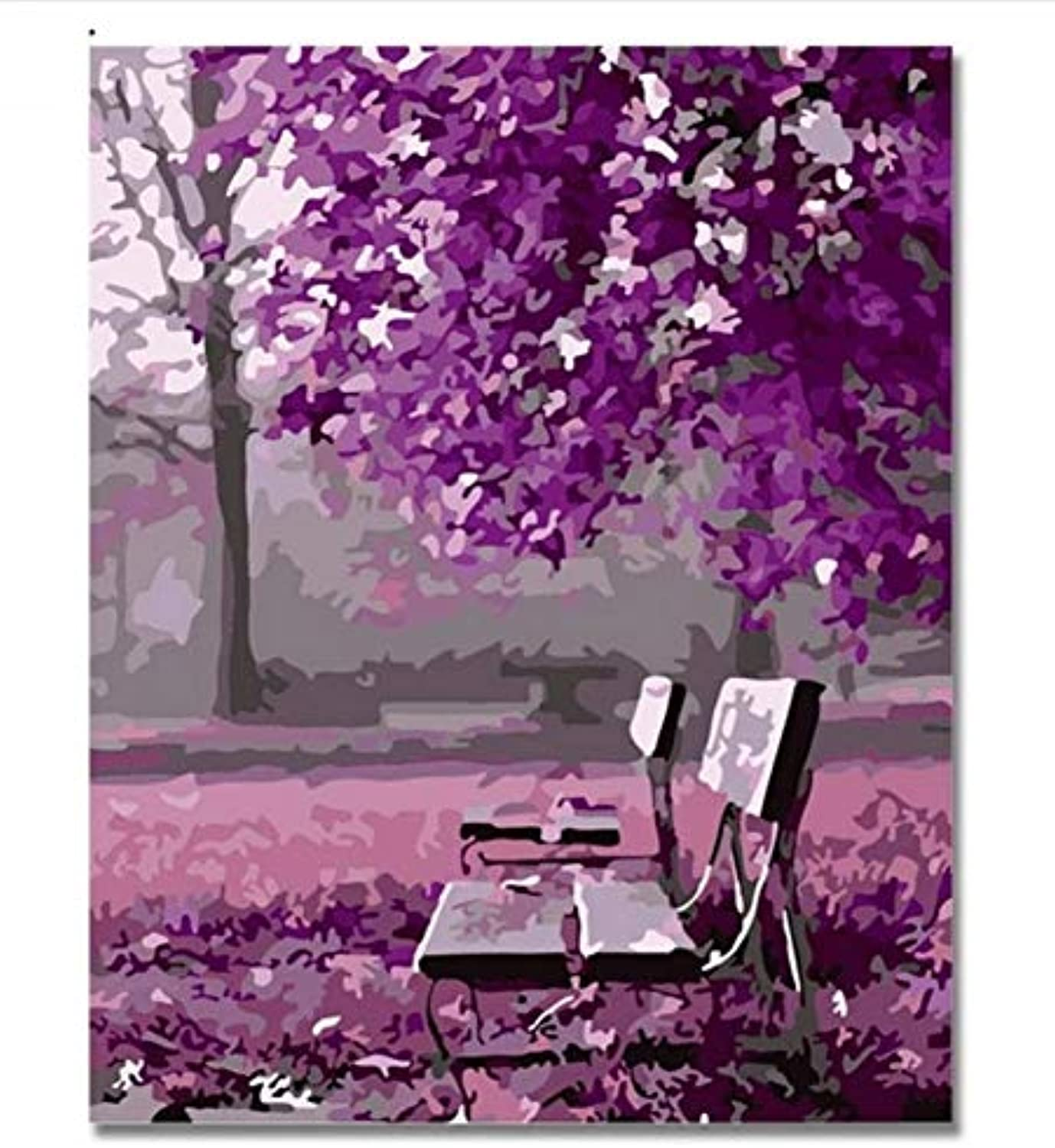 UPUPUPUP Purple Romantic Pictures By Numbers Diy Hand Painted Park Tree Chair Wall Oil Painting By Number Artwork Home Decor Gift,Tworidc550X70Cm Framed