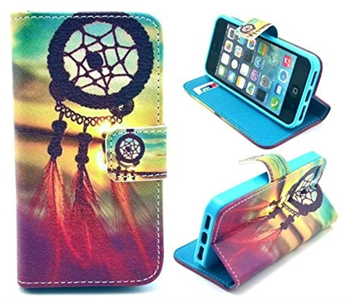 iPhone 5S Case,iPhone SE Case, Welity Retro Dream Catcher PU Leather Wallet Type Magnet Design Flip Case Cover Credit Card Holder Pouch Case for Apple iPhone 5S/SE/5G