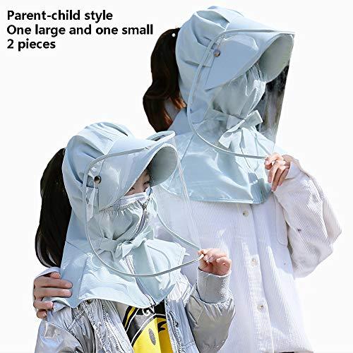 Beschermende Hoed Voor Volwassenen En Kinderen Anti-Spuugemmer Beschermkap Grote Rand Anti-Condens Hoed Speekselbescherming Hoed Buiten,Blue gray,2 pieces