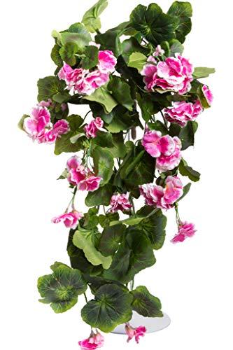 Evergreens künstlicher Geranienhängebusch mit 9 Stielen (Fuchsia-Creme)