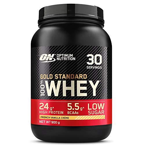 Optimum Nutrition Gold Standard 100% Whey Proteína en Polvo, Glutamina y Aminoácidos Naturales, BCAA, Crema de Vainilla Francesa, 30 Porciones, 900g, Embalaje Puede Variar