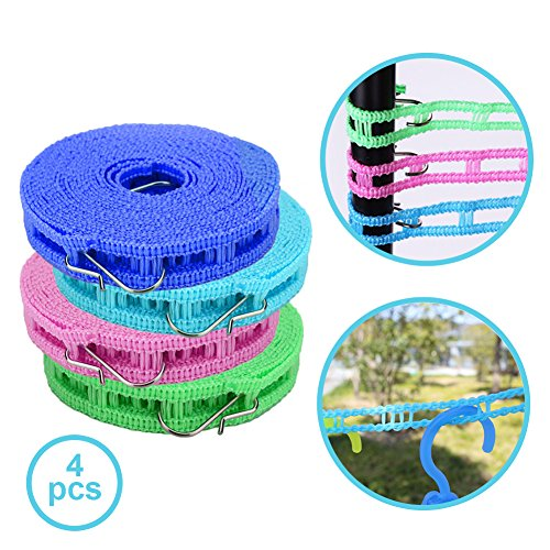 4 Pack of Clothesline with 5m Portable Nylon Clothes Hanger Rope and Durable Stainless-Steel Hook | Anti Slip Laundry Drip Drier Clothesline Rope for Travel Clothesline Home Camping | Color May Vary