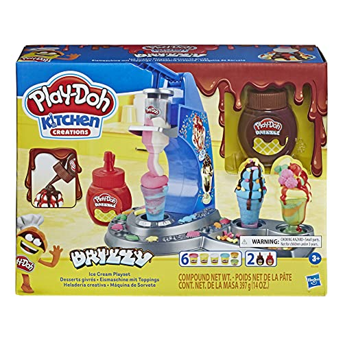PLAY-DOH Kitchen Creations Drizzy Ice Cream Playset Featuring Drizzle Compound, 6 Non-Toxic Play-Doh Colors