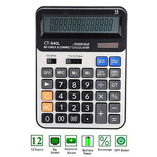 Basiscalculator, Tangxi 14-cijferig LCD-scherm, kantoorcalculator, dubbele batterij op zonne-energie met grote knoppen, elektronische rekenmachine voor kantoor, financiën, huishouden, enz