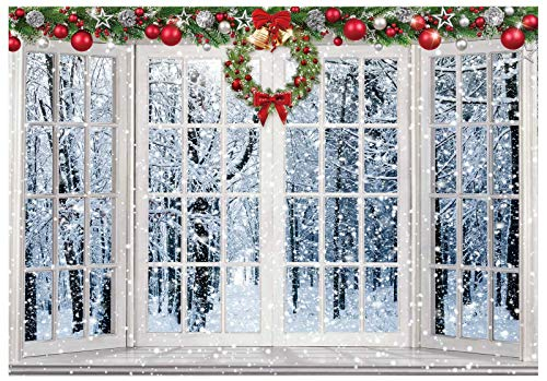 Funnytree 7x5ft Winter Landscape Window Photography Backdrop Christmas Snow Trees Forest Scenery Background Baby Kids Party Decorations Portrait Cake Table Banner Photo Studio Props