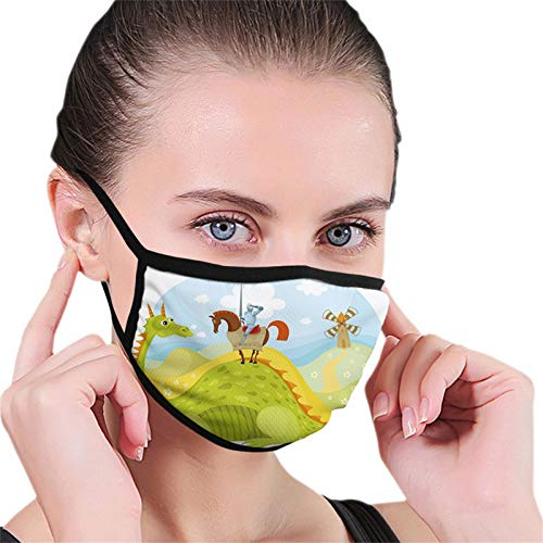 Fantasy, Knight Don Quixote with Horse on Dragon Valley Medieval Fairytale Image,Fruits Green Sky Blue Reusable Face Mask Balaclava Washable Outdoor Nose Mouth for Men and Women
