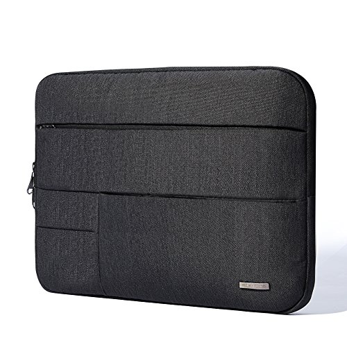 KALIDI Multi-Pockets Laptop Sleeve Bag Case Cover Briefcase with Zipper for 14 Inch Laptop Notebook Computer (Black)