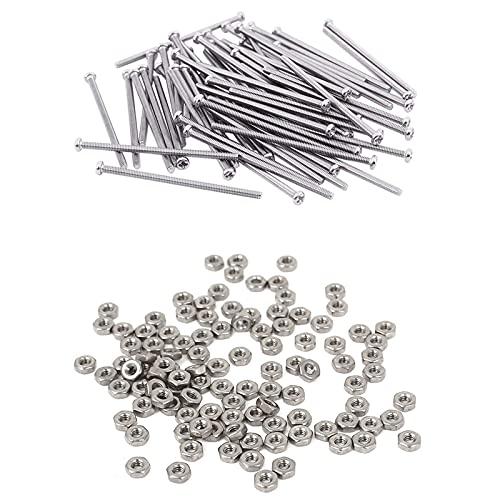 WPC Brands 60 tornillos de cabeza redonda M2 x 40 mm, 100 tuercas hexagonales M2 métricos de acero inoxidable 304 tornillos de pared de yeso