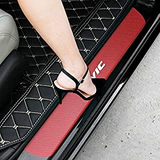 SENYAZON Car Decal Sticker Carbon Fibre Vinyl Reflective Car Door Sill Decoration Scuff Plate for Honda Civic (red)