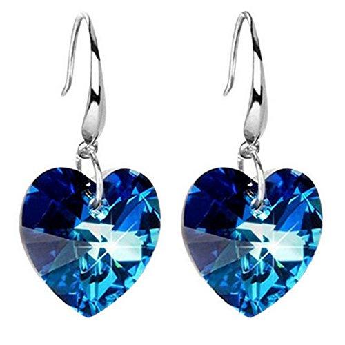 LAMEIDA Pendientes de Cristal Azul Pendientes de Amor Temperamento de Plata para Mujeres Elegantes (Azul)