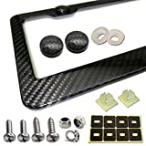 Aootf Carbon Fiber License Plate Frame- Handcrafted of 100% Real Carbon Fiber Cloth Wrap Aluminum Frames | Stainless Steel License Plate Screws with CF Screw Caps | Gloss Black 2 Holes | Qty 1 Frame