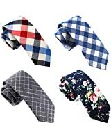 Casual Skinny Neckties for Men Cotton Plaid/Floral Slim Tie TG-004
