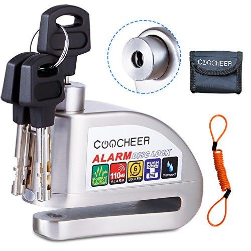 [Upgraded] COOCHEER Alarm Disc Lock, Scooter Motorcycle Bike Security Anti-theft & Waterproof Brake Wheel Lock Super Class C Level Lock Cylinder 110db Alarm With bag