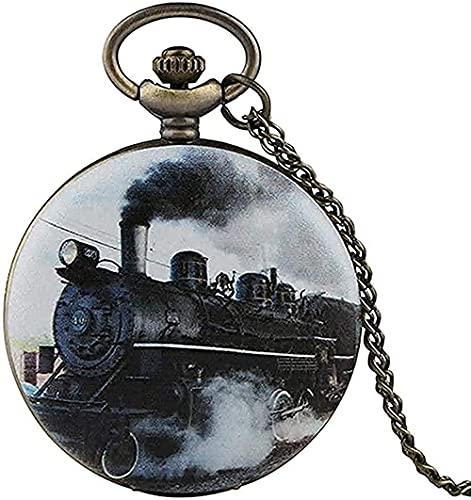 NC110 Regalos de Moda Collar Tren Locomotora Motor Patrón Cubierta Cantera Diseño Reloj de Bolsillo Cadena Colgante Collar Unisex Regalos YUAHJIGE