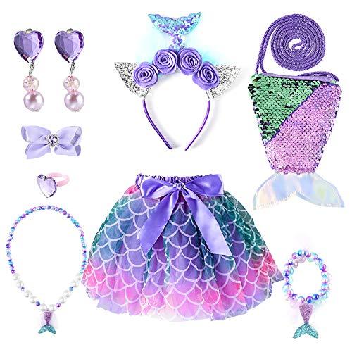 INSOUR Klein Mädchen Kostüme Tutu Rock Geschenk Set Meerjungfrau Umhängetasche Stirnband Halskette Armband Ring Ohrring für Geburtstagsfeier Karneval Cosplay