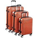 Amazon Basics - Trolley con motivo geometrico, Set da 3 pezzi (55 cm, 68 cm, 78 cm), Ruggi...