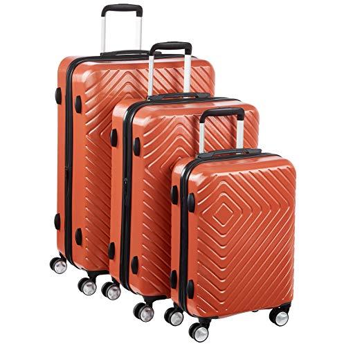 Amazon Basics - Trolley con motivo geometrico, Set da 3 pezzi (55 cm, 68 cm, 78 cm), Ruggine