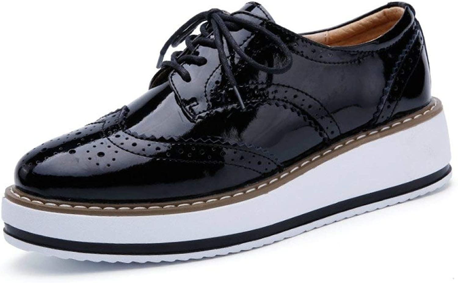 Fay Waters Women's Patent Leather Platform Oxfords Lace-up Mid Heel Brogue Wingtip Perforated Wedge shoes