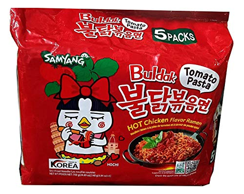 Samyang Fideos Hot Chicken Ramen Sabor Tomato Pasta (5 Packs)