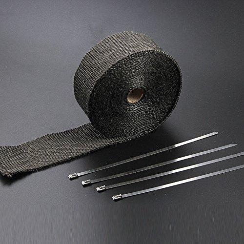 5M Auspuffisolierband Fallrohrhitzefolie 1,5MM Dicke Mit 4X Kabelbindern F/ür Auto Baiwka Hitzeschutzband Auspuffband Motorrad//Ofen Und Landwirtschaftliche Maschinen